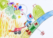 Children's drawing. harvesting in the village — Stock Photo