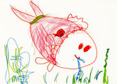 Child's drawing on paper. fish eat a worm — Stock Photo
