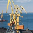 Stock Photo: Trade port and cranes
