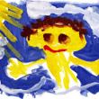 Child's drawing watercolor. Child against the sky and sun - Stock Photo