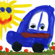 Child's drawing watercolor. Toy car on meadow and sun - Stock Photo