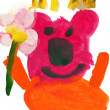Child's drawing watercolor. Bear with flower and bees - Stock Photo