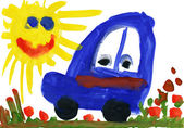 Child's drawing watercolor. Toy car on meadow and sun — Stock Photo