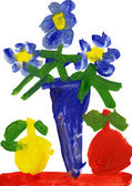 Child's drawing watercolor. Vase with flowers and apples — Stock Photo