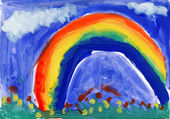 Child's drawing watercolor. Landscape with rainbow — Stok fotoğraf