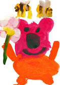 Aquarela de desenho da criança. urso com flores e abelhas — Fotografia Stock
