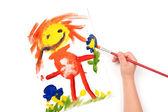 Child draw a pregnant woman — Stock Photo