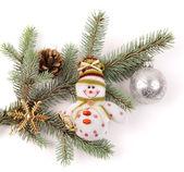 雪人与圣诞树装饰 — 图库照片