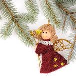 Christbaumkugeln mit engel — Stockfoto