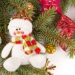 Christmas tree decoration with snowman — Stock Photo