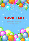 Greeting card with flying balls and place for text — Stock Vector