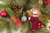 Christmas tree decoration with angel — Stock Photo
