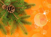 Weihnachtsbaum mit gelben bokeh-hintergrund — Stockfoto