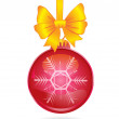 Red christmas ball and golden bow - Stock Vector