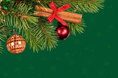 Christmas tree decoration on green — Stock Photo