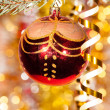 Stock Photo: Christmas ball on fir tree branch