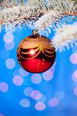 рождественский бал на ветви дерева пихты — Стоковое фото