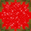 Red christmas frame with sparkles from fir branches - Stock Photo