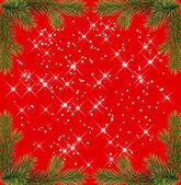 Rot Weihnachten Rahmen mit funkelt aus Tannen-Zweigen — Stockfoto