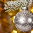Christmas ball on fir tree branch - Stock Photo