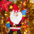 Christmas santa greeting on fir tree branch — Foto Stock