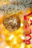 Christmas apple on fir tree branch — Stock Photo