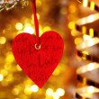 One heart on christmas fir tree branch — Стоковая фотография
