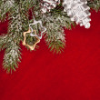 Christmas tree decoration with cone on red — Stock Photo