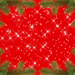 Red christmas frame with sparkles from fir branches - Foto de Stock