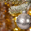 Christmas ball on fir tree branch - Foto de Stock