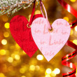 Two hearts on christmas fir tree branch — Стоковая фотография