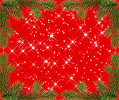 Red christmas frame with sparkles from fir branches — Stock Photo