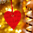 One heart on christmas fir tree branch — Zdjęcie stockowe