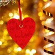 One heart on christmas fir tree branch — Stock fotografie