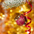 Christmas drum on fir tree branch - Stockfoto