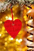 One heart on christmas fir tree branch — Stock Photo