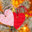 Two hearts on christmas fir tree branch — Stock Photo #17890369
