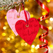 Two hearts on christmas fir tree branch — Foto de Stock