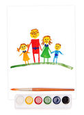 Painted family, watercolor set and brush — Stock Photo