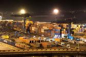Puerto industrial de noche — Foto de Stock