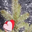 Hearts on fir tree branch - ストック写真
