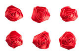 Set of roses made of silk ribbon — Stock Photo