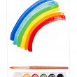 Painted rainbow, watercolor set and brush — Stock Photo