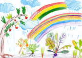 Landscape with rainbow. child — Stock Photo