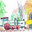 Steam train goes to the subway. child's drawing. - Stockfoto