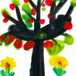 Tree with apples, watercolor paint - Stock Photo
