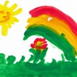 Landscape with rainbow. Child's drawing. — Stock Photo