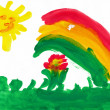 Landscape with rainbow. Child's drawing. — Stock Photo #19702665