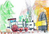 Steam train goes to the subway. child's drawing. — Stockfoto
