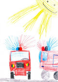 Fire truck. child's drawing. — Stock Photo
